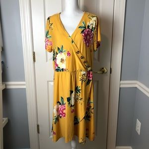 Planet Gold Faux Wrap Dress 1X NWOT